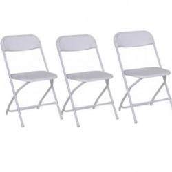 Chaise pliante fer et plastique blanche