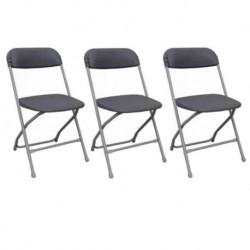 Chaise pliante acier et polypro grise