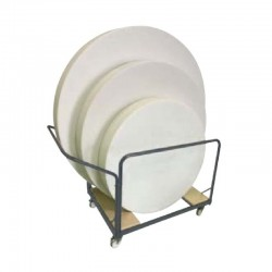 Chariot de transport, tables rondes polypro de différentes dimensions