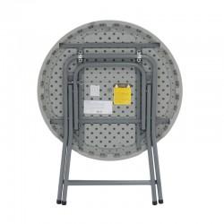 Ouverture et fermeture facile pour cette table ronde polypro