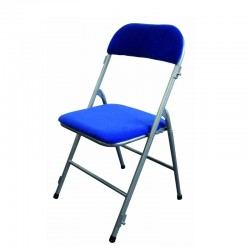 Chaise pliante en velours bleue