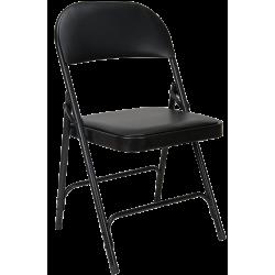 Chaise pliante en vinyle rembourré noir