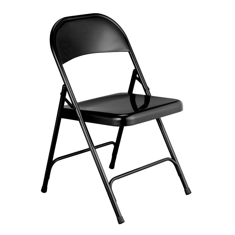 Chaise en fer pliantes en métal noir