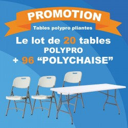 Un lot de 20 tables pliantes et 96 chaises polypro