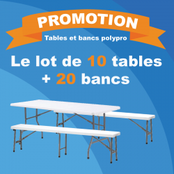PROMOTION sur le lot de 10 tables pliantes + 20 bancs pliants en polypro