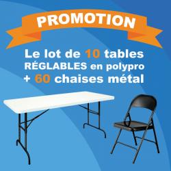 Lot pas cher de 10 tables réglables et 60 chaises en métal