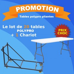 Lot de 20 tables polypro + 1 chariot