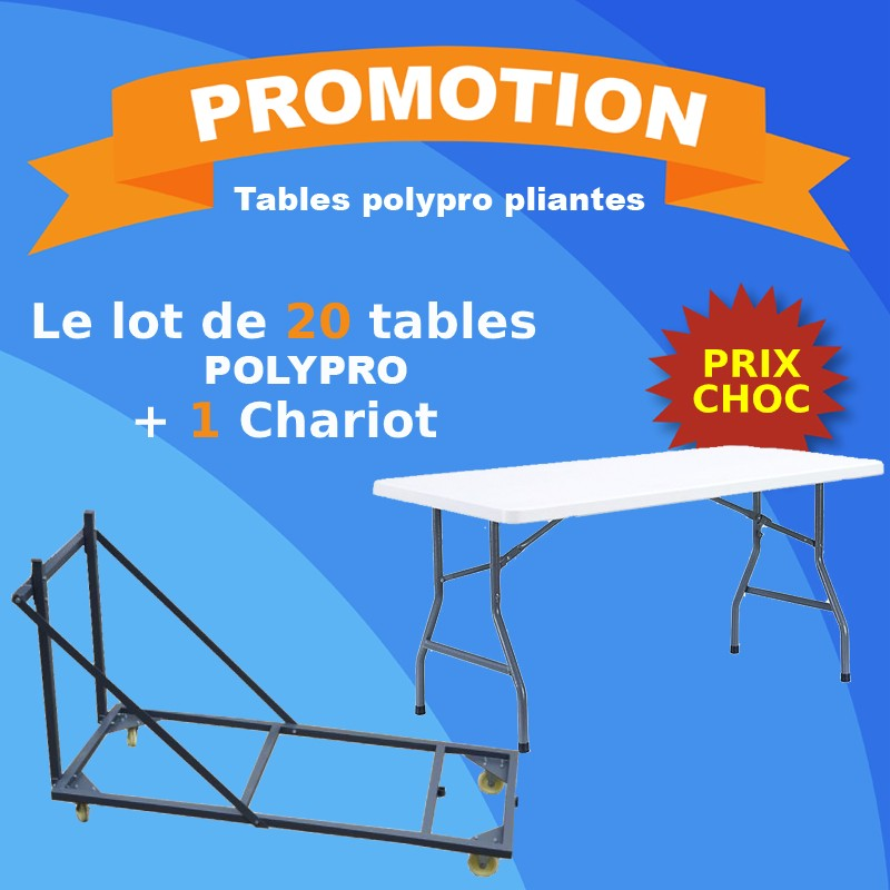 Lot de 20 tables polypro + 1 chariot