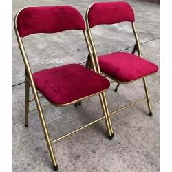Belles chaises pliantes en acier doré et velours bordeaux