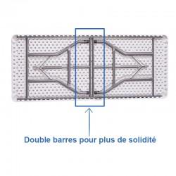 Table plastique solide avec double barres de renfort