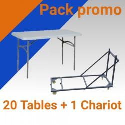 Promo table pliante en plastique et 1 chariot de transport